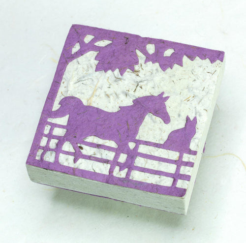 Eco-Friendly, Sustainable, Tree-Free Horse POOPOOPAPER Scratch Pads - Purple - Front