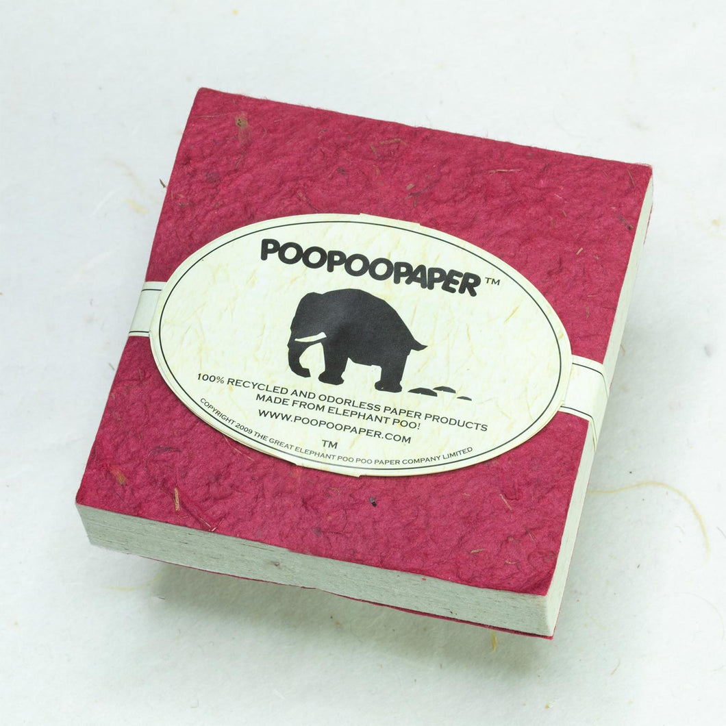 Classic Elephant POOPOOPAPER - Eco-Friendly and Tree-Free - Scratch Pad - Burgundy - (Set of 3) - Front