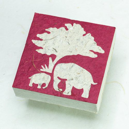 Eco-Friendly, Tree-Free Elephant Poo Scratch Pad -  Elephant Mom & Baby Burgundy - Set of 3 - Front