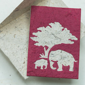 Greeting Card Elephant Mom & Baby - Burgundy