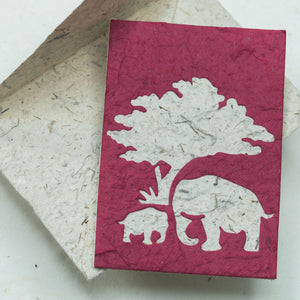 Greeting Card Elephant POOPOOPAPER  Mom & Baby - Burgundy