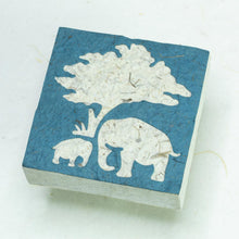 Load image into Gallery viewer, Eco-Friendly, Tree-Free Elephant Poo Scratch Pad -  Elephant Mom & Baby Blue - Set of 3 - Front