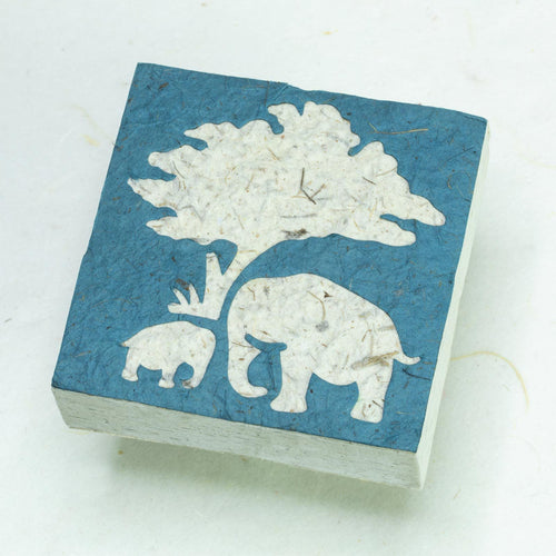 Eco-Friendly, Tree-Free Elephant Poo Scratch Pad -  Elephant Mom & Baby Blue - Set of 3 - Front