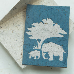 Greeting Card Elephant POOPOOPAPER  Mom & Baby - Blue