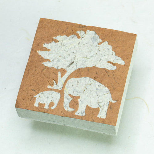 Eco-Friendly, Tree-Free Elephant Poo Scratch Pad -  Elephant Mom & Baby Bark - Set of 3 - Front