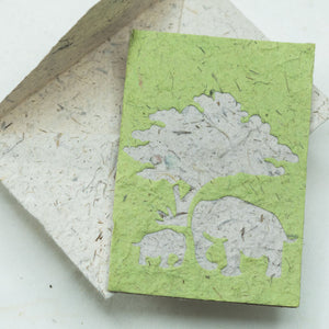 Greeting Card Elephant POOPOOPAPER  Mom & Baby - Grass