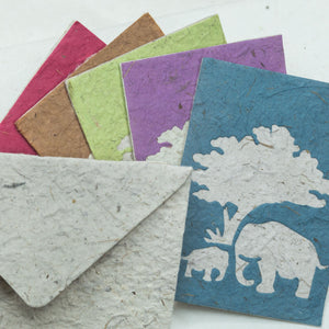 Greeting Card Elephant POOPOOPAPER  Mom & Baby - Assorted Pack of Five