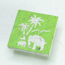 Load image into Gallery viewer, Scratch Pad Elephant Mom & Baby set - Green - Organic, Tree-Free Poo Paper - Front
