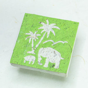 Scratch Pad Elephant Mom & Baby set - Green - Organic, Tree-Free Poo Paper - Front