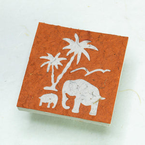 Assorted Gift-Pack of 25 Mini-Scratch Pads Elephant Mom & Baby with Palm Tree