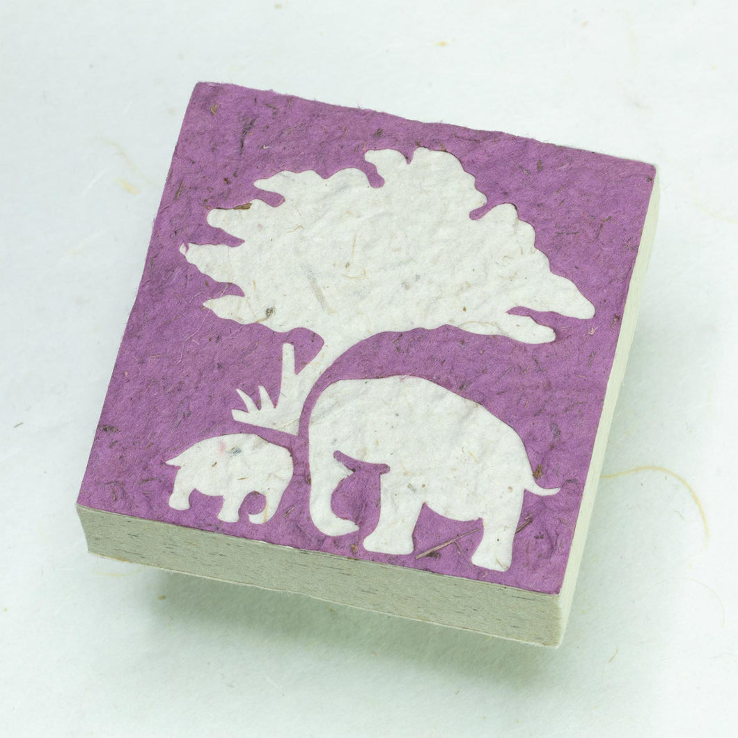 Eco-Friendly, Tree-Free Elephant Poo Scratch Pad -  Elephant Mom & Baby Purple - Set of 3 - Front