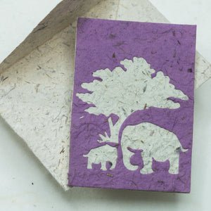 Greeting Card Elephant POOPOOPAPER  Mom & Baby - Purple