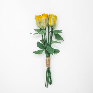 Bouquet of Six Yellow, Eco-Friendly, Sustainable POOPOOPAPER Roses - Full View