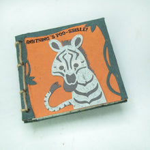 "Load image into Gallery viewer, Twine Journal - ZEBRA  - ""Anything's POO-ssible!"""