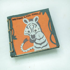 "Twine Journal - ZEBRA  - ""Anything's POO-ssible!"""