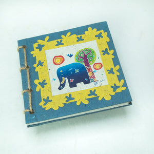 Eco-Friendly, Tree-Free, Twine Journal and Scratch Pad - Thailand Themed Batik Art Journal - Blue - by POOPOOPAPER