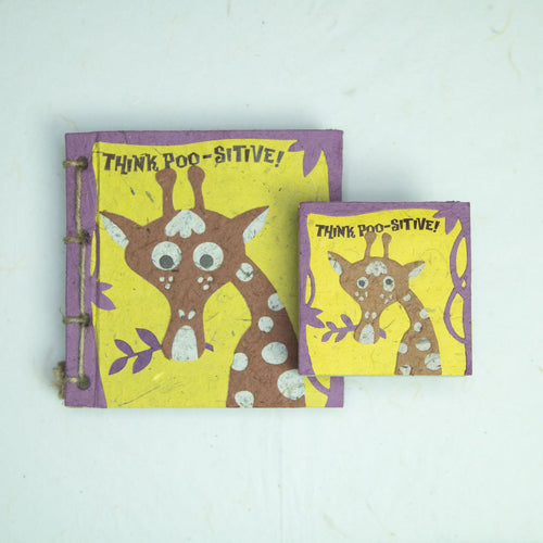 Eco-Friendly, Tree-free Face at the Zoo - Twine Journal and Scratch Pad set by POOPOOPAPER - Giraffe