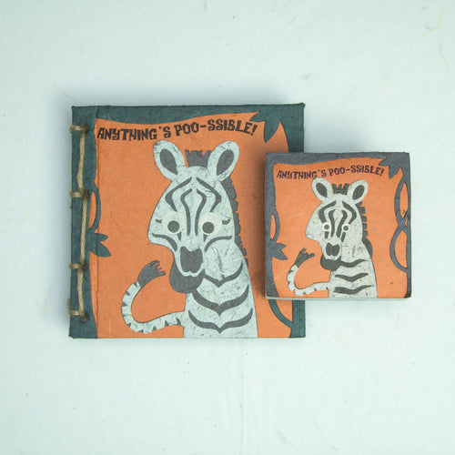 Eco-Friendly, Tree-free - Twine Journal and Scratch Pad set by POOPOOPAPER - Face at the Zoo - Zebra - Front