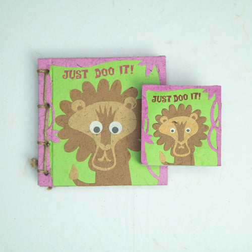 Eco-Friendly, Tree-free - Twine Journal and Scratch Pad set by POOPOOPAPER - Face at the Zoo - Lion