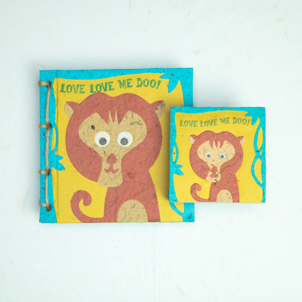 Eco-Friendly, Tree-free Face at the Zoo - Twine Journal and Scratch Pad set by POOPOOPAPER - Monkey