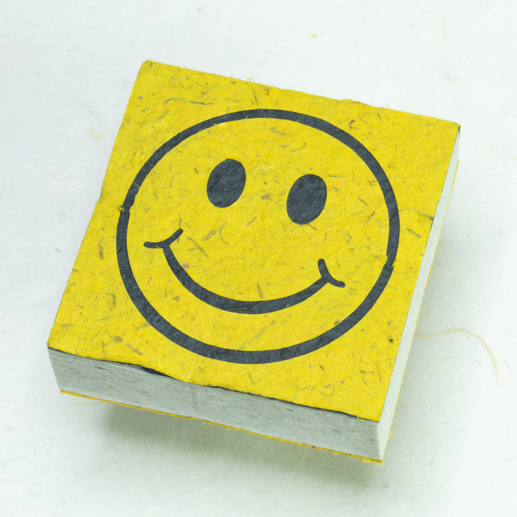 Eco-Friendly, Tree-Free, Organic POOPOOPAPER - Happy Face Scratch Pad - Yellow - Set of 3 - Front