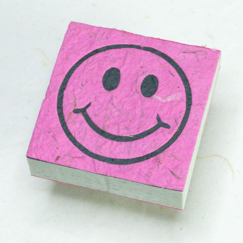 Eco-Friendly, Tree-Free, Organic POOPOOPAPER - Happy Face Scratch Pad - Pink - Set of 3 - Front