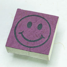 Load image into Gallery viewer, Eco-Friendly, Tree-Free, Organic POOPOOPAPER - Happy Face Scratch Pad - Purple - Set of 3 - Front