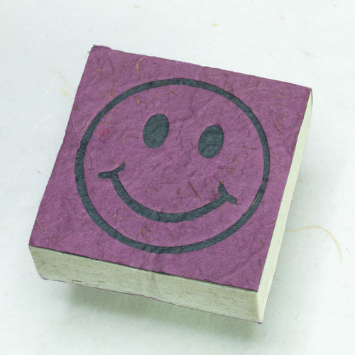 Eco-Friendly, Tree-Free, Organic POOPOOPAPER - Happy Face Scratch Pad - Purple - Set of 3 - Front