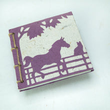 Load image into Gallery viewer, On the Farm - Twine Journal - Horse & Cat - Purple