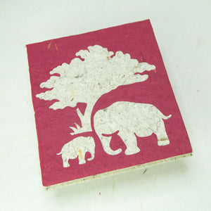 Eco-Friendly, Tree-Free, Classic Elephant POOPOOPAPER - Mom & Baby Journal - Burgundy - Front