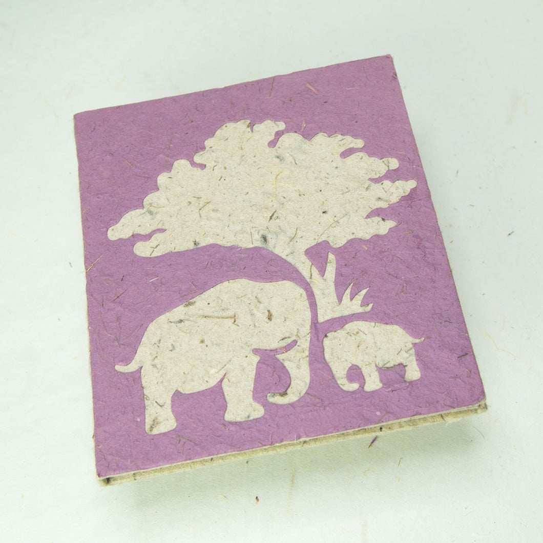 Eco-Friendly, Tree-Free, Classic Elephant POOPOOPAPER - Mom & Baby Journal - Purple - Front
