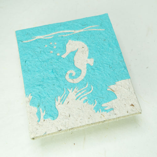 Sea-Life themed Sea Horse Journal - Eco-Friendly, Tree-Free - POOPOOPAPER - Front