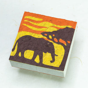 Eco-Friendly, Tree-Free POOPOOPAPER - Savannah Sunset Scratch Pad - Elephant - Orange - Set of 3 - Front