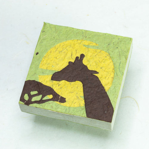 Eco-Friendly, Tree-Free POOPOOPAPER - Savannah Sunset Scratch Pad - Giraffe - Green - Set of 3 - Front