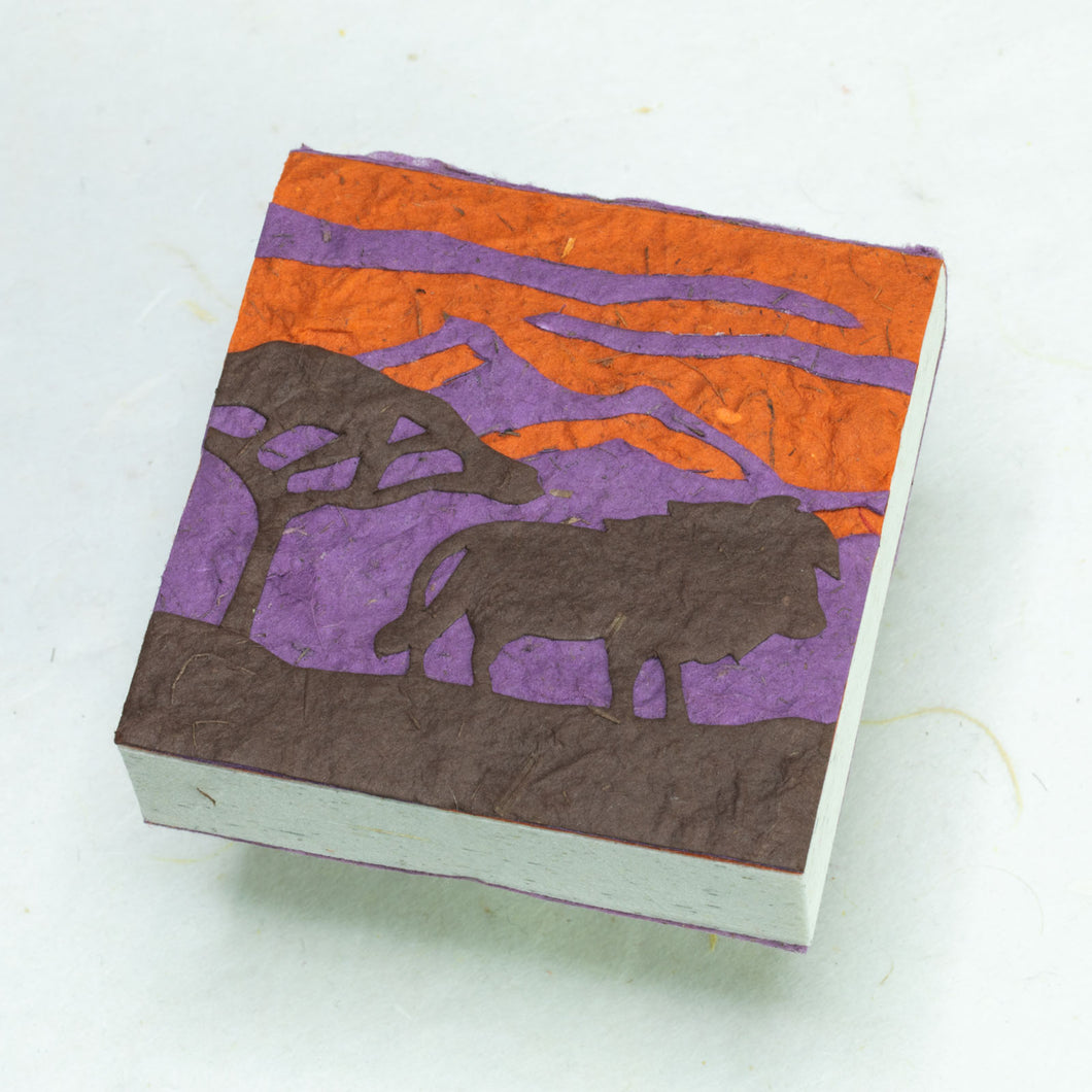Eco-Friendly, Tree-Free POOPOOPAPER - Savannah Sunset Scratch Pad - Lion - Purple - Set of 3 - Front