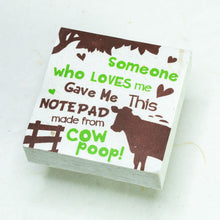 Load image into Gallery viewer, Eco-Friendly, Tree-Free POOPOOPAPER - Someone Loves Me - Cow Scratch Pad - Set of 3 -  Green - Front