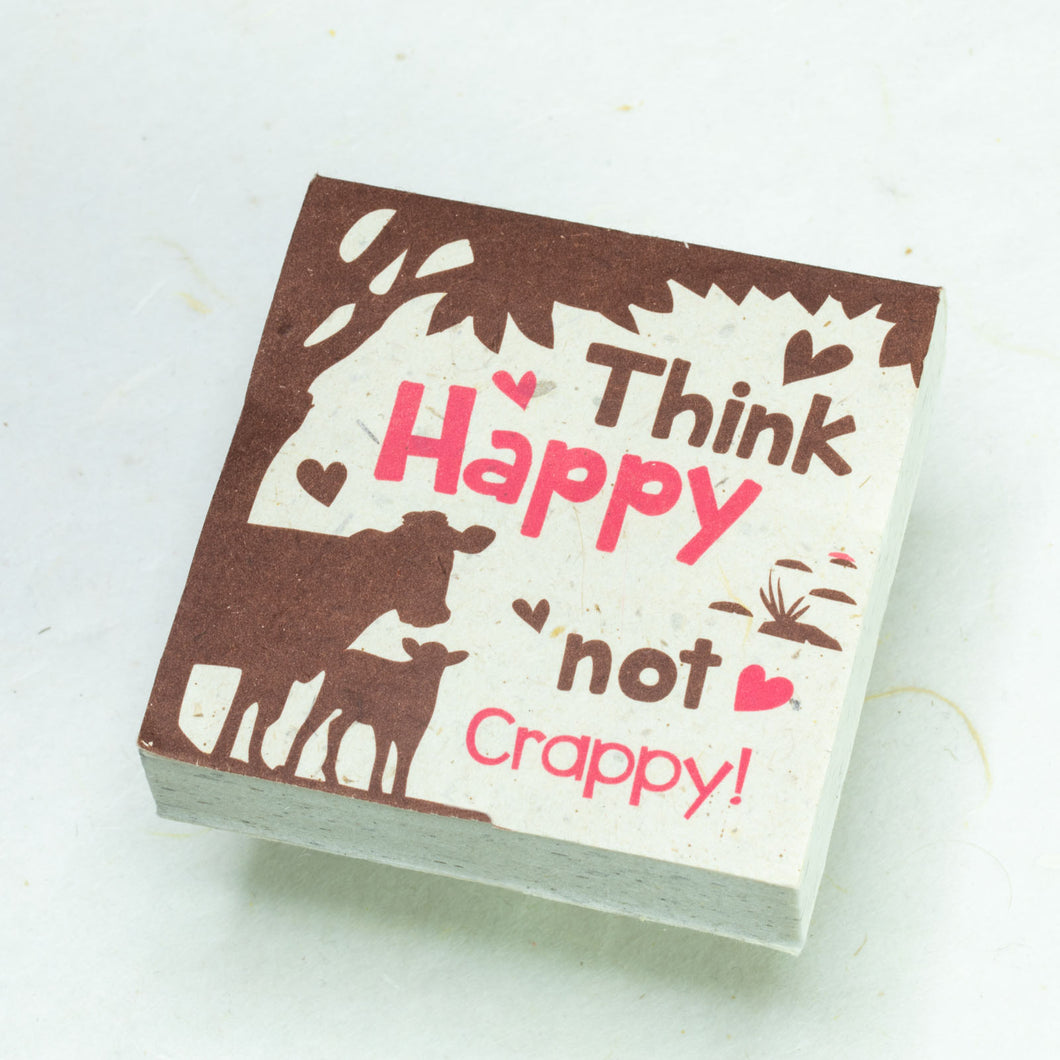 Eco-Friendly, Tree-Free POOPOOPAPER - Think Happy Not Crappy - Cow Scratch Pad - Set of 3 -  Pink - Front