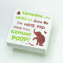 Load image into Gallery viewer, Eco-Friendly, Tree-Free POOPOOPAPER - Someone Who Loves Me - Elephant Scratch Pad - Set of 3 -  Green - Front