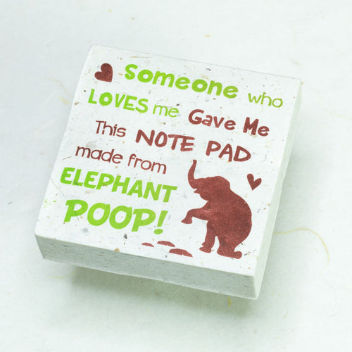 Eco-Friendly, Tree-Free POOPOOPAPER - Someone Who Loves Me - Elephant Scratch Pad - Set of 3 -  Green - Front
