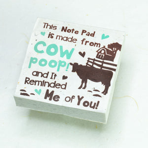 Eco-Friendly, Tree-Free POOPOOPAPER - Reminded Me of You - Cow Scratch Pad - Set of 3 -  Blue - Front