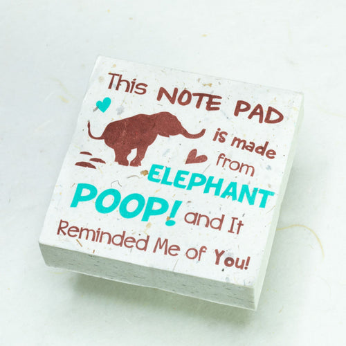 Eco-Friendly, Tree-Free POOPOOPAPER - Reminded Me of You - Elephant Scratch Pad - Set of 3 -  Blue - Front