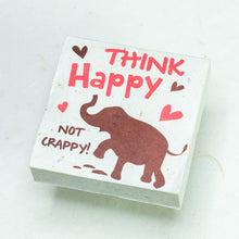 Load image into Gallery viewer, Eco-Friendly, Tree-Free POOPOOPAPER - Think Happy Not Crappy - Elephant Scratch Pad - Set of 3 -  Pink - Front