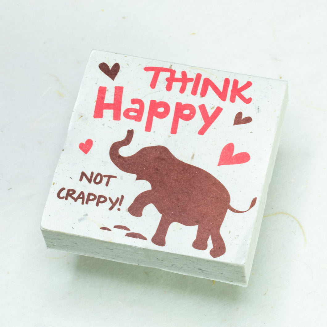 Eco-Friendly, Tree-Free POOPOOPAPER - Think Happy Not Crappy - Elephant Scratch Pad - Set of 3 -  Pink - Front