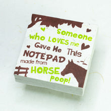 Load image into Gallery viewer, Eco-Friendly, Tree-Free POOPOOPAPER - Someone Loves Me - Horse Scratch Pad - Set of 3 -  Green - Front