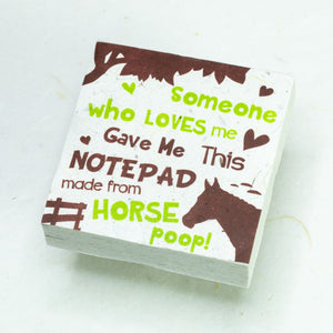 Eco-Friendly, Tree-Free POOPOOPAPER - Someone Loves Me - Horse Scratch Pad - Set of 3 -  Green - Front