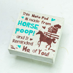 Eco-Friendly, Tree-Free POOPOOPAPER - Reminded Me of You - Horse Scratch Pad - Set of 3 -  Blue - Front