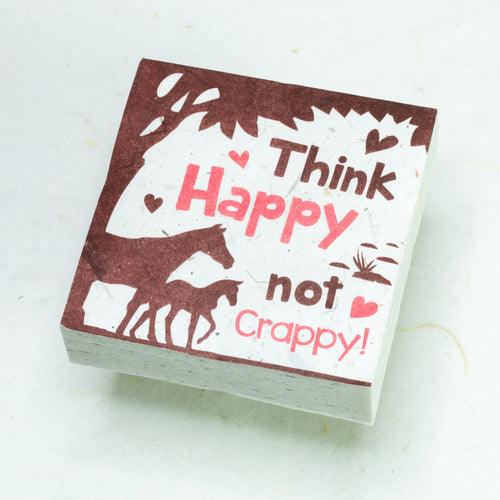 Eco-Friendly, Tree-Free POOPOOPAPER - Think Happy Not Crappy - Horse Scratch Pad - Set of 3 -  Pink - Front