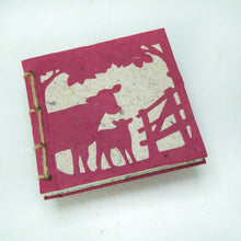 Load image into Gallery viewer, On the Farm - Twine Journal and Scratch Pad - Cow & Baby - Burgundy