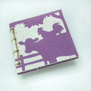 On the Farm - Twine Journal and Scratch Pad - Cow & Rooster - Purple
