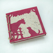 Load image into Gallery viewer, On the Farm - Twine Journal and Scratch Pad - Horse & Dog - Burgundy